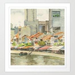Boat Quay, Singapore Art Print