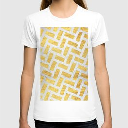 Brick Pattern 1 in Gold and Silver T-shirt