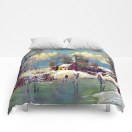 The American Winter Life Vintage Art Comforters