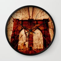 brooklyn bridge Wall Clocks featuring Brooklyn Bridge by Del Vecchio Art by Aureo Del Vecchio