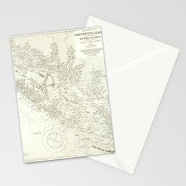Vintage Map Print - Admiralty Chart No 1917 Vancouver Island & Shores of British Columbia, 1865 Stationery Cards