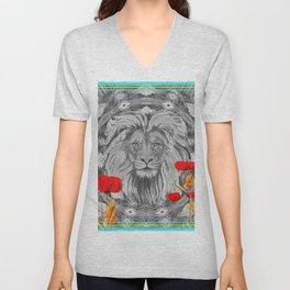 Lion Geometric Floral Contrast Print Unisex V-Neck