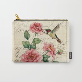 Vintage Roses Print Hummingbird Art Love Quote Rustic Decor Valentine Gift Carry-All Pouch
