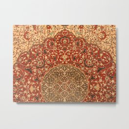 Flowery Vines VIII // 16th Century Contemporary Red Blue Yellow Colorful Ornate Accent Rug Pattern Metal Print