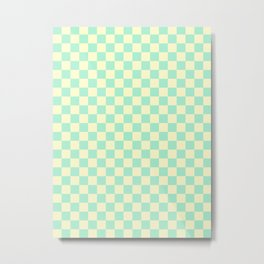 Cream Yellow and Magic Mint Green Checkerboard Metal Print