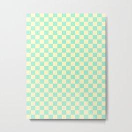 Cream Yellow and Magic Mint Green Checkerboard Metal Print