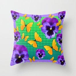 PURPLE PANSIES-BUTTERFLY GREEN OPTIC ART Throw Pillow