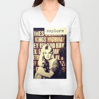 explore V-neck T-shirts featuring Explore by LadyJennD
