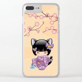 Japanese Neko Kokeshi Doll V2 Clear iPhone Case