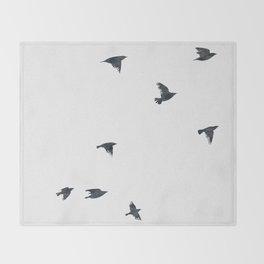 Ravens Birds in Black and White Throw Blanket