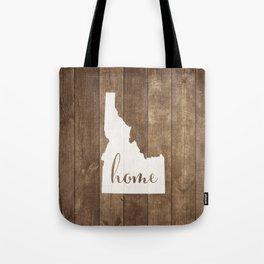 Idaho is Home - White on Wood Tote Bag