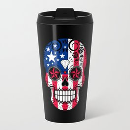 Sugar Skull with Roses and Flag of The United States Travel Mug