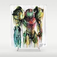 samus Shower Curtains featuring Samus Aran by David Lakin