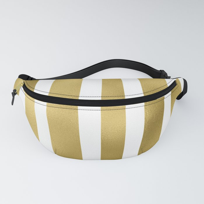 Gold unequal stripes on clear white - vertical pattern Fanny Pack