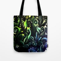 duvet cover Tote Bags featuring LONELY FOREST DUVET COVER by aztosaha