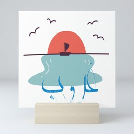 sunset, sea, sun, Arabic ,word means sunset Mini Art Print