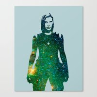 battlestar Canvas Prints featuring Starbuck Battlestar Galactica by pithyPENNY