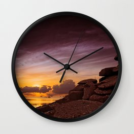 Rocky outcrop overlooking the ocean Wall Clock