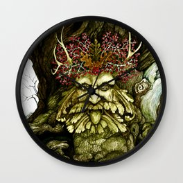Green Man of the Wood Original Watercolor Wall Clock