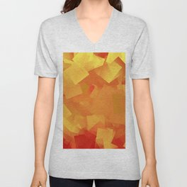 Cubism in orange Unisex V-Neck