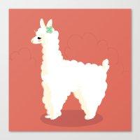 alpaca Canvas Prints featuring Alpaca by Laura Gómez