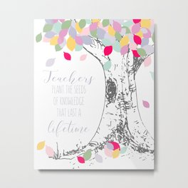 Teacher appreciation Rainbow tree printable, class gift, Teacher Gifts, End of Year Metal Print