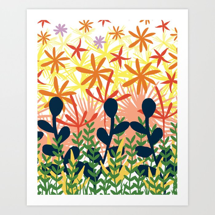 bright bold abstract floral Art Print by ...