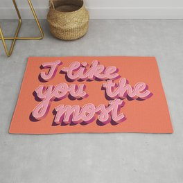 I like you the most, Hand Lettered, Happy Valentine's Day Rug
