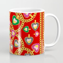 Fashion Print with Golden Chains and Jewelry Coffee Mug
