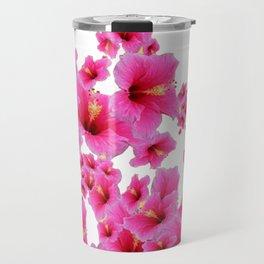 MODERN ART TROPICAL FUCHSIA HIBISCUS  FLOWERS Travel Mug