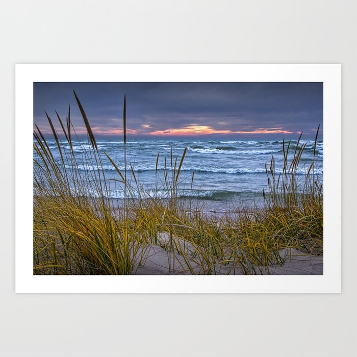 Sunset Photograph Of A Dune With Beach Grass At Holland Michigan No 0199 Art Print By Randynyhof
