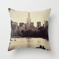 central park Throw Pillows featuring Central Park by C Liza B