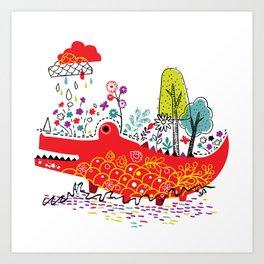 Croco-Nature Illustration Art Print