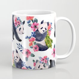 Watercolor pattern with pandas and flowers. Coffee Mug