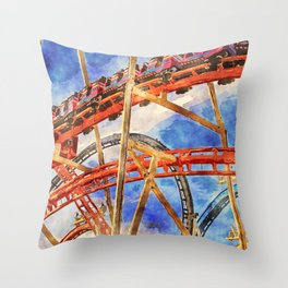 Fun on the roller coaster, close up Throw Pillow