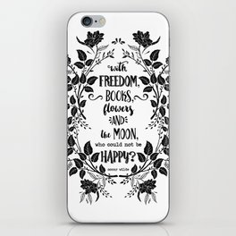 Freedom & Books & Flowers & Moon iPhone Skin