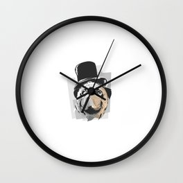 Business Pug Wall Clock