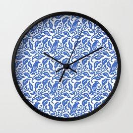 Bird and Berries Pattern Blue Wall Clock