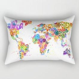 Paint Splashes Typography Text World Map Rectangular Pillow