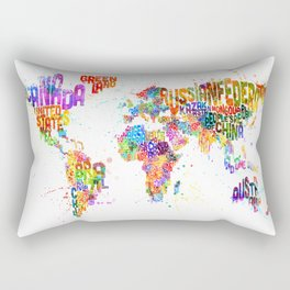 Paint Splashes Typography Text World Map Rectangular Pillow