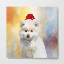 American Eskimo Dog Christmas Santa Hat Metal Print