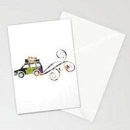 Cute Car Fabric art Stationery Cards
