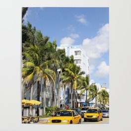 Yellow Cabs On Ocean Drive Poster