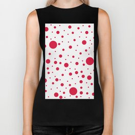 Mixed Polka Dots - Crimson Red on White Biker Tank