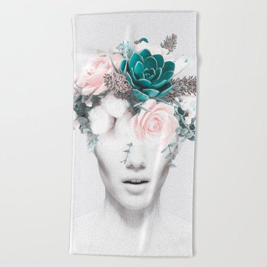 Woman floral Beach Towel