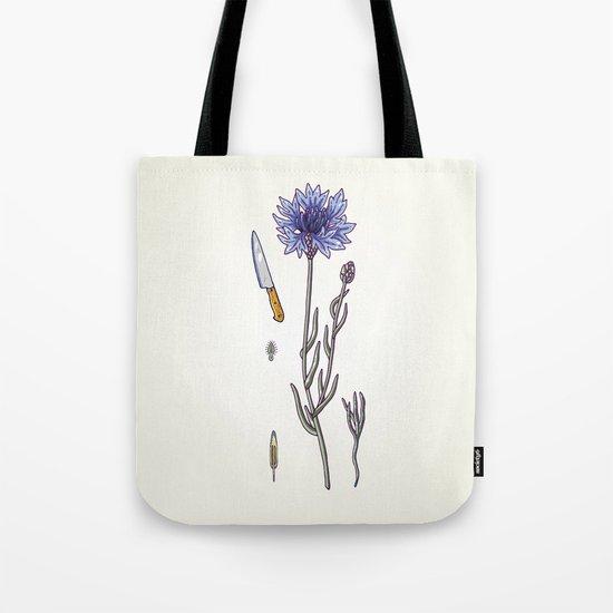 blue cornflower and knife Tote Bag