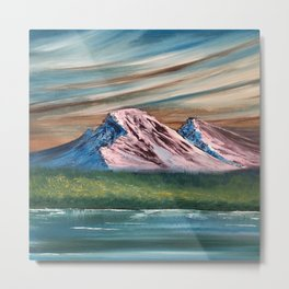 Pink and Blue Mountains Metal Print