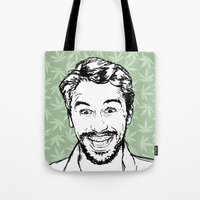james franco Tote Bags featuring Franco by naidl