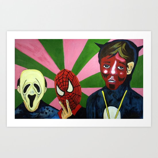 Spiderman, the Devil and Friend Art Print