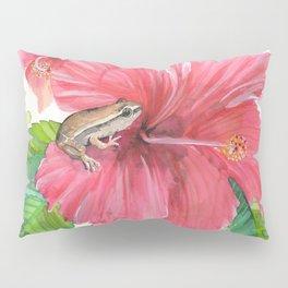 Coqui Frog & Hibiscus Flower Pillow Sham